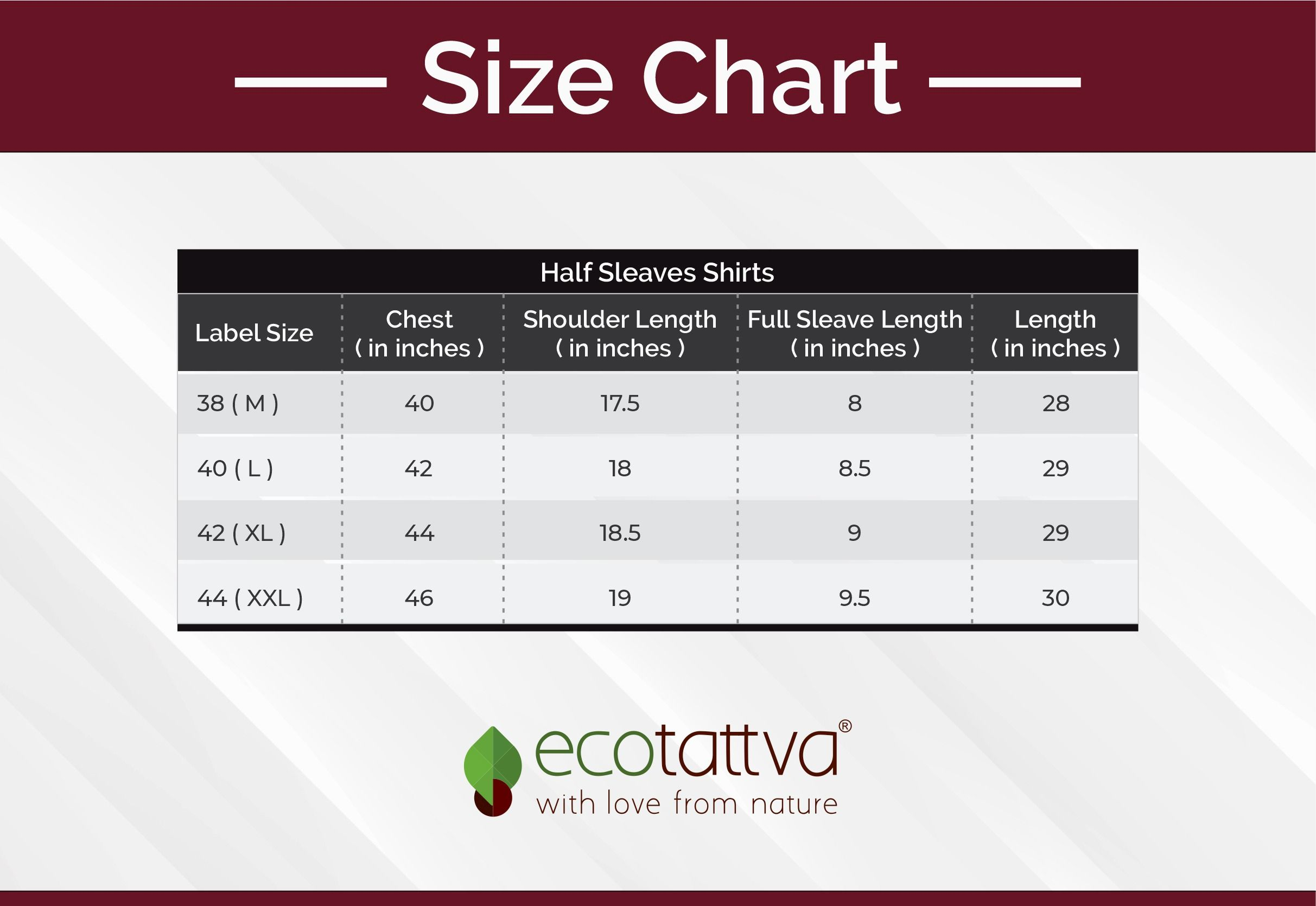 Size chart Half sleeves shirt men