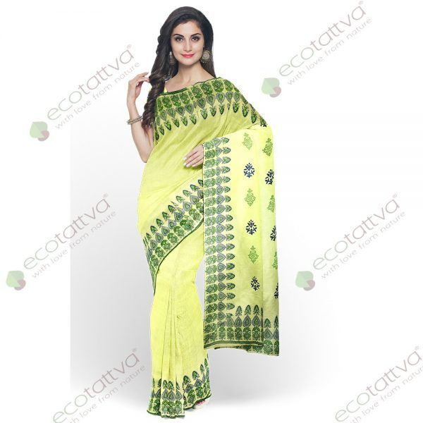 Yellow khadi saree with blue block prints