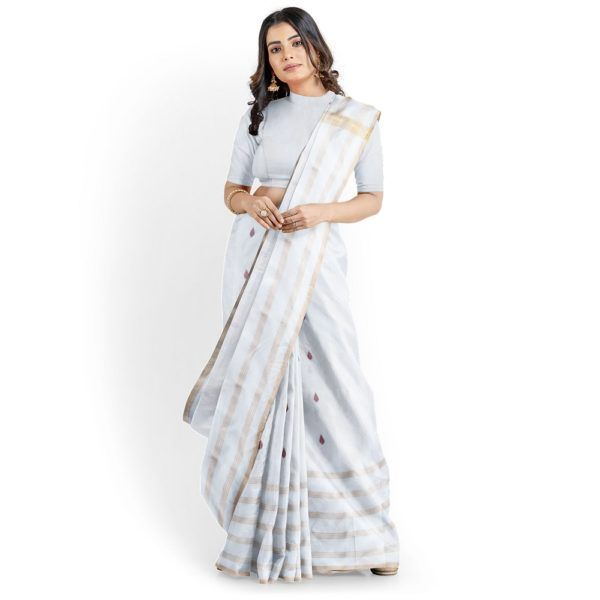 Jari Border Saree in Off-white color with Red butta prints